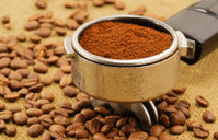 Coffee Beans with and Espresso Machine Filter