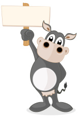 Cow holding a blank sign
