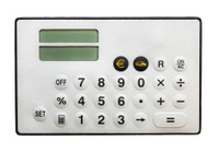 Calculator isolated on white. Euro currency button.