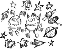 Doodle Sketch Space Set
