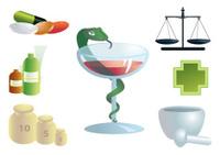 Pharmaceutical set of seven parts