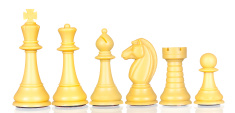 White chess pieces in order of decreasing