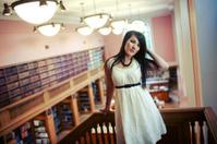 Balcony Library Asian Woman