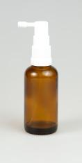 Brown medicine spray bottle on white isolated background