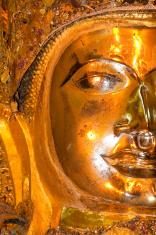 Closeup of golden buddha