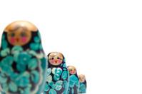russian nesting dolls (babushka) in a row and shallow dof