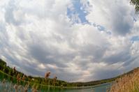 The sky over lake.  fish eye