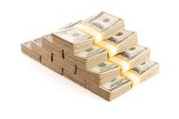 Stacks of One Hundred Dollar Bills Isolated