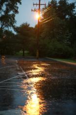 Rain in parking lot