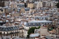 Parisian roofs in the rain