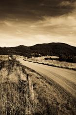 Farm country road paddock Australia Sepia