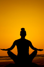 Seated yoga pose silhouette