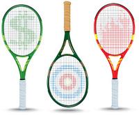 Tennis Rackets - Dollar Sign, Target, Flame