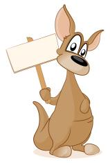 Kangaroo holding a blank sign
