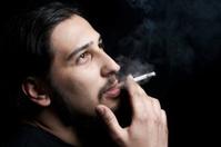 smoker enjoying his cigarette