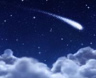shooting star through clouds