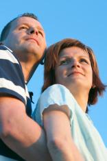 Couple look sunset