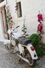 White vintage motorbike