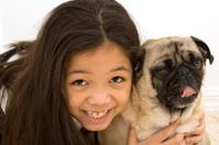 Asian Girl with Yawing Pug