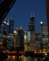 July Night Chicago River Skyline
