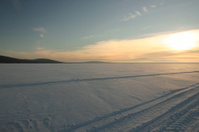 snow mobile tracks across a frozen river at sunset