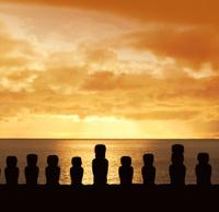 Sunset over Moai at Ahu Tongariki Easter Island Chile