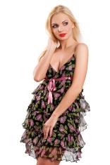 blonde attractive girl in dress
