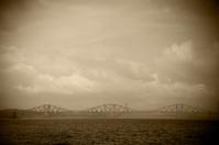 Firth of Forth Railway Bridge on a rainy day