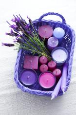 basket of lavender candles