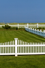 Blue sky, White fence, Green grass