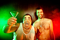 two guys with drinks cocktails yell at red green disco