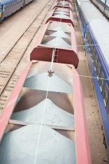 cargo train wagons transporting aggregates