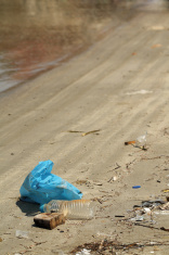 Plastic bag and garbage on the beach