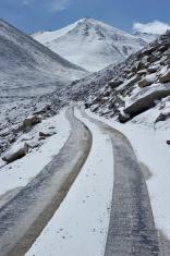 Snowy mountain road to nowhere