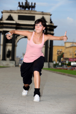 woman modern dancer in city