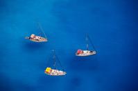Anchored sailing ships