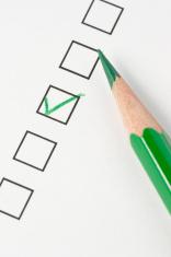 Survey Box Green Pencil Check Mark