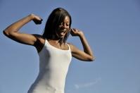 Beautiful Black Girl Jumping for Joy