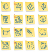 Nature and gardening post it note icons