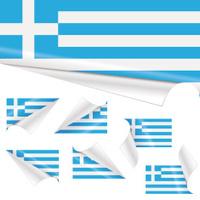 Greek Flags behind Curled Paper