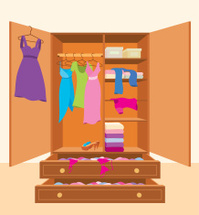 Multicolored Clothes IN A Wardrobe Box For Easy Moving Stock Photos