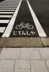 Tokyo: Bicycle lane and pedestrian crossing 自転車