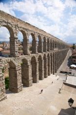 great monument roman aqueduct of Segovia city Spain