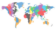 Editable vector World map made up of small dots