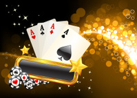 four aces on golden glow Background