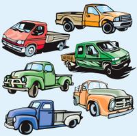 Truck Illustrations X: Pick-Up Trucks (Vector)