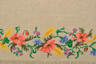 Linen canvas with embroidery