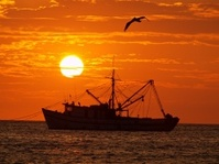 Puerto Lopez Ecuador Sunset silhouette fishing boat
