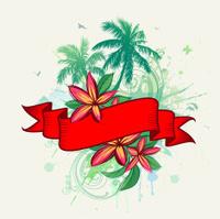 Ribbon, tropical flowers, palms