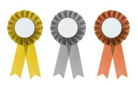 Gold silver and bronze rosettes